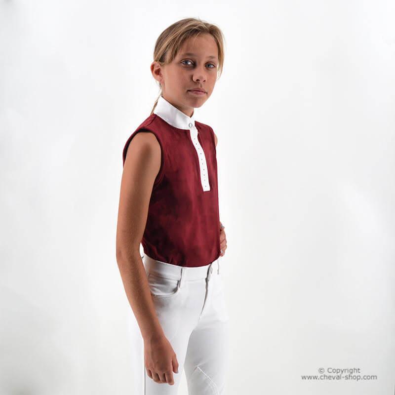 Polo de concours fille Pompadour sans manches Time Rider
